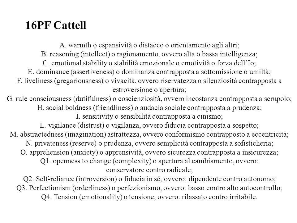 16PF CattellA. warmth o espansività o distacco o orientamento agli altri; B. reasoning (intellect) o ragionamento, ovvero alta o bassa intelligenza;