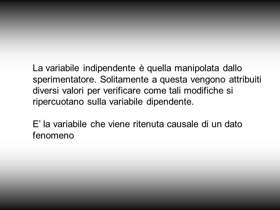 La variabile indipendente è quella manipolata dallo sperimentatore