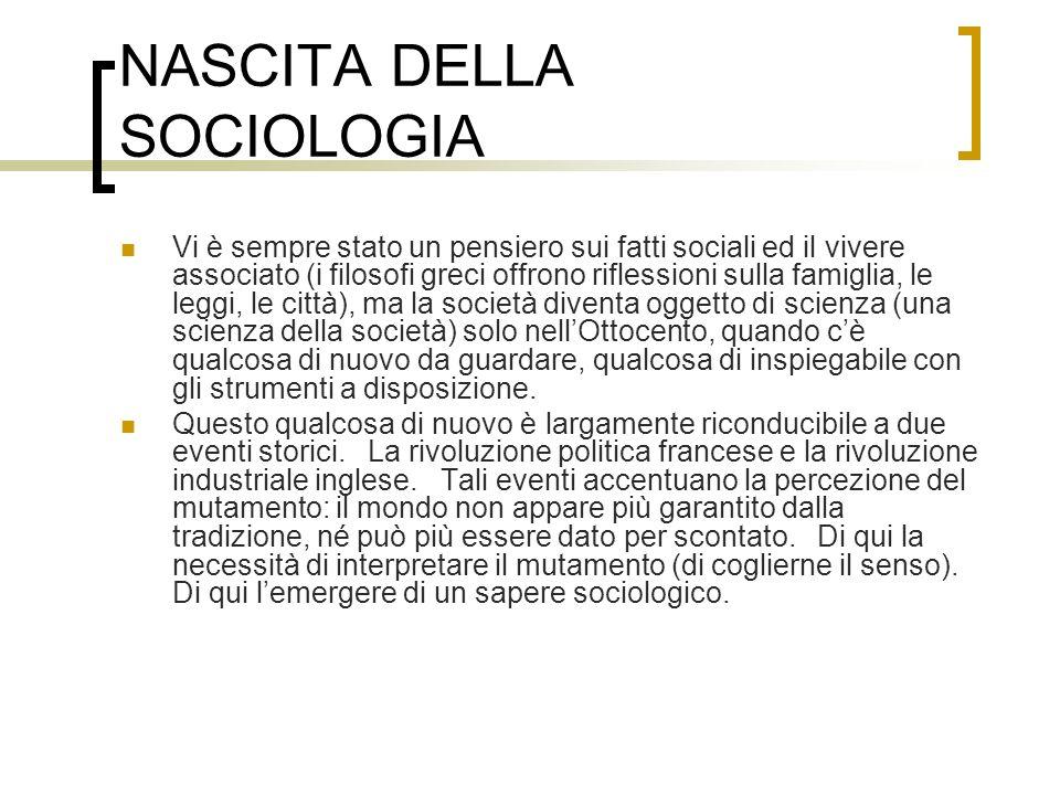 NASCITA DELLA SOCIOLOGIA