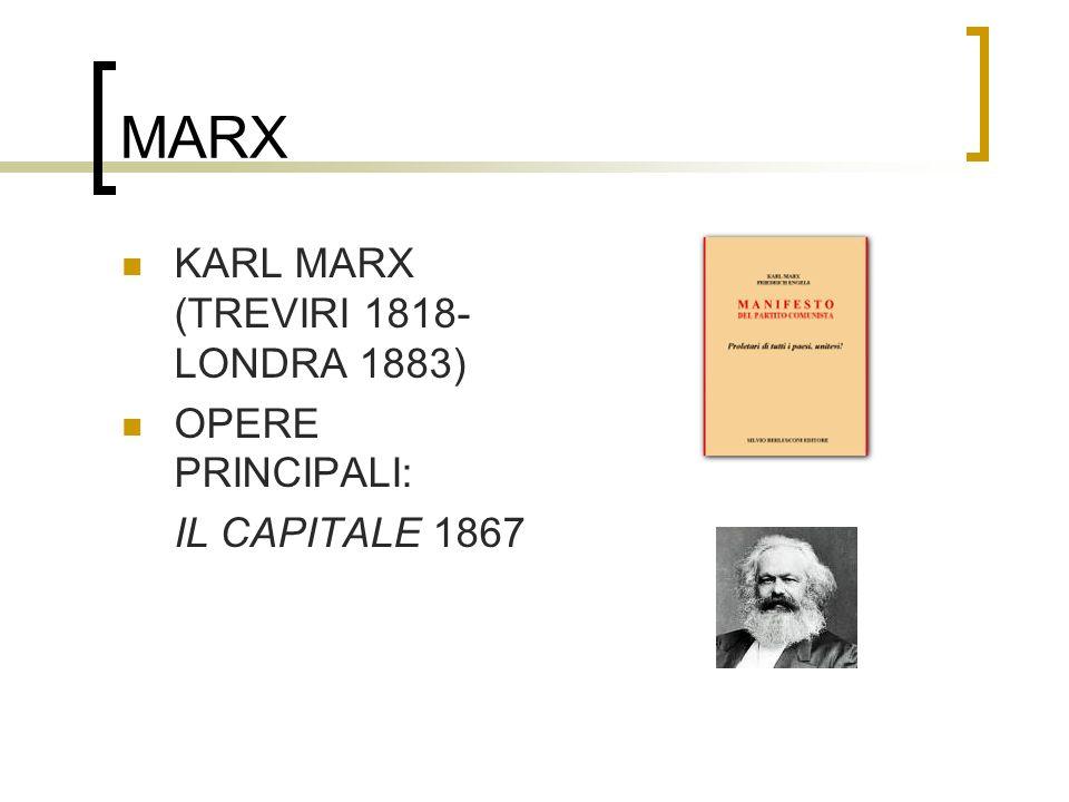 MARX KARL MARX (TREVIRI 1818-LONDRA 1883) OPERE PRINCIPALI: