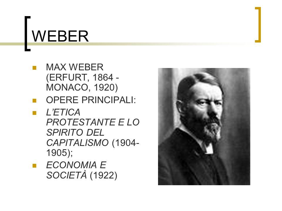 WEBER MAX WEBER (ERFURT, 1864 - MONACO, 1920) OPERE PRINCIPALI: