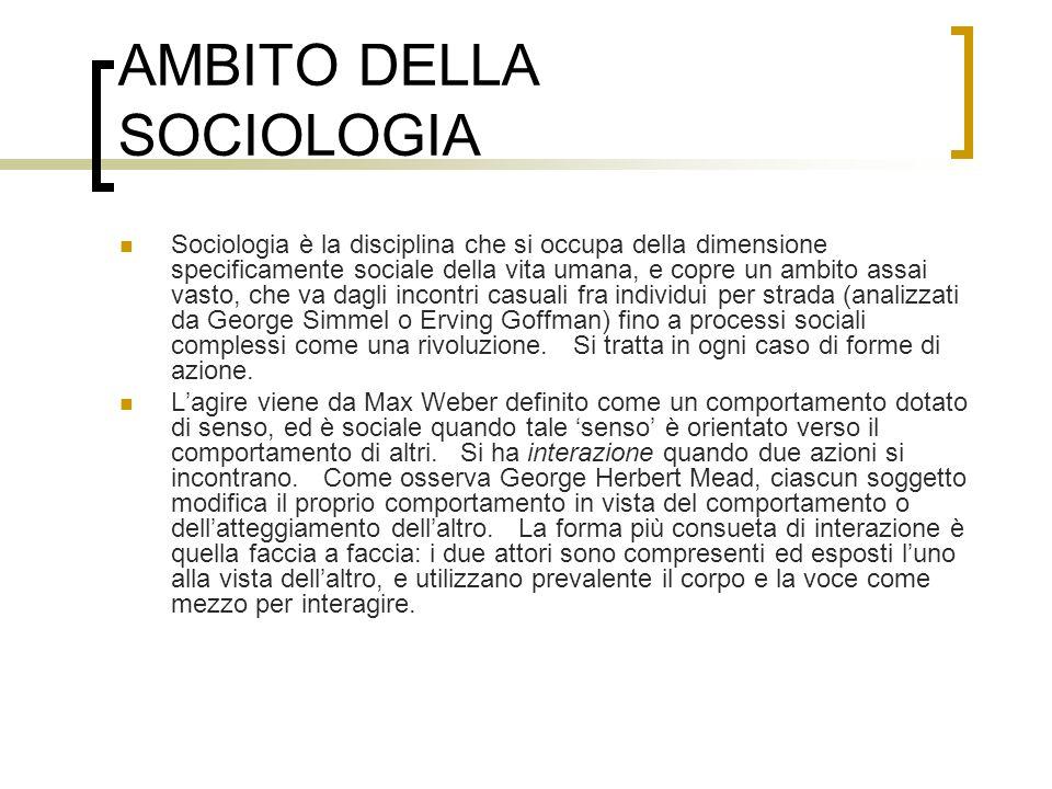 AMBITO DELLA SOCIOLOGIA