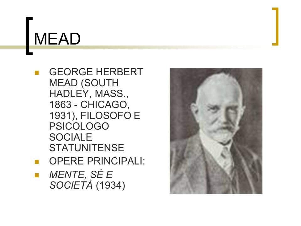 MEAD GEORGE HERBERT MEAD (SOUTH HADLEY, MASS., 1863 - CHICAGO, 1931), FILOSOFO E PSICOLOGO SOCIALE STATUNITENSE.