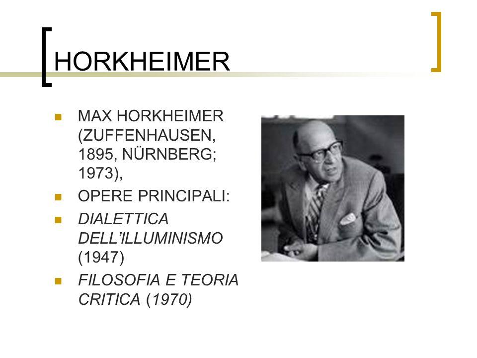 HORKHEIMER MAX HORKHEIMER (ZUFFENHAUSEN, 1895, NÜRNBERG; 1973),