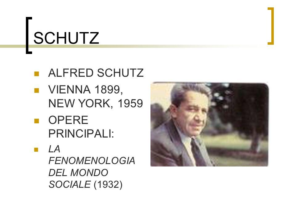 SCHUTZ ALFRED SCHUTZ VIENNA 1899, NEW YORK, 1959 OPERE PRINCIPALI: