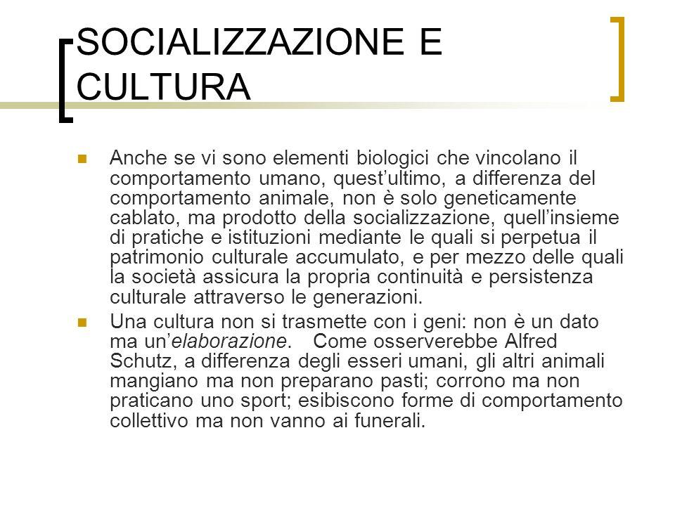 SOCIALIZZAZIONE E CULTURA
