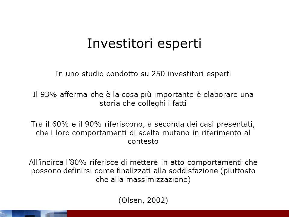 In uno studio condotto su 250 investitori esperti