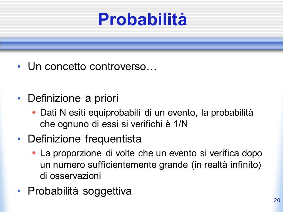Probabilità Un concetto controverso… Definizione a priori