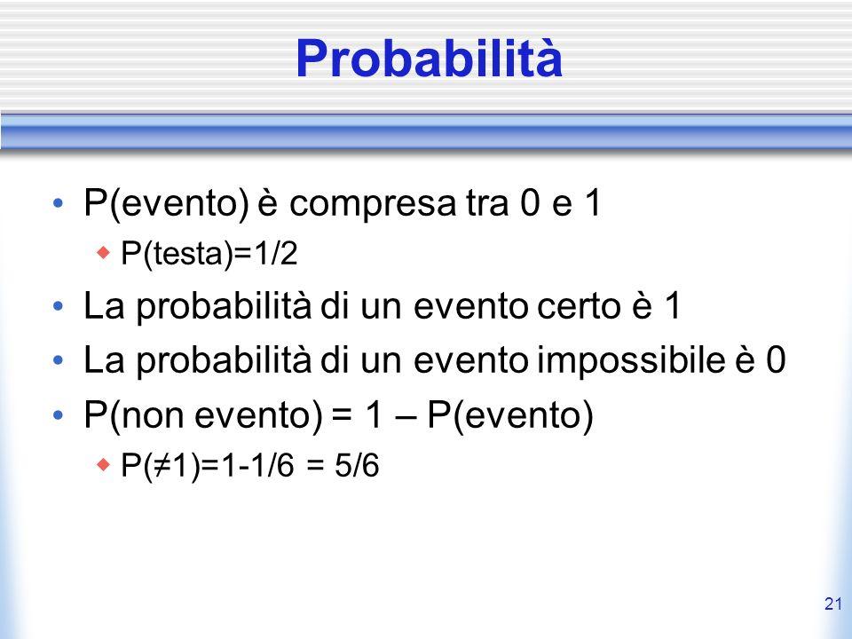 Probabilità P(evento) è compresa tra 0 e 1