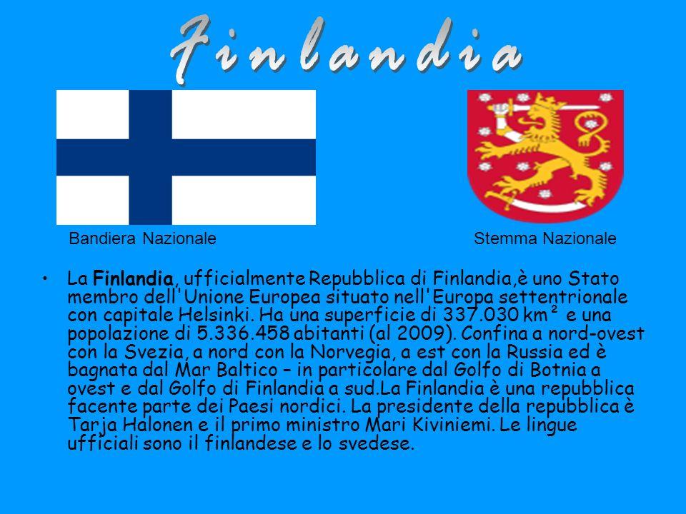 Finlandia Bandiera Nazionale. Stemma Nazionale.
