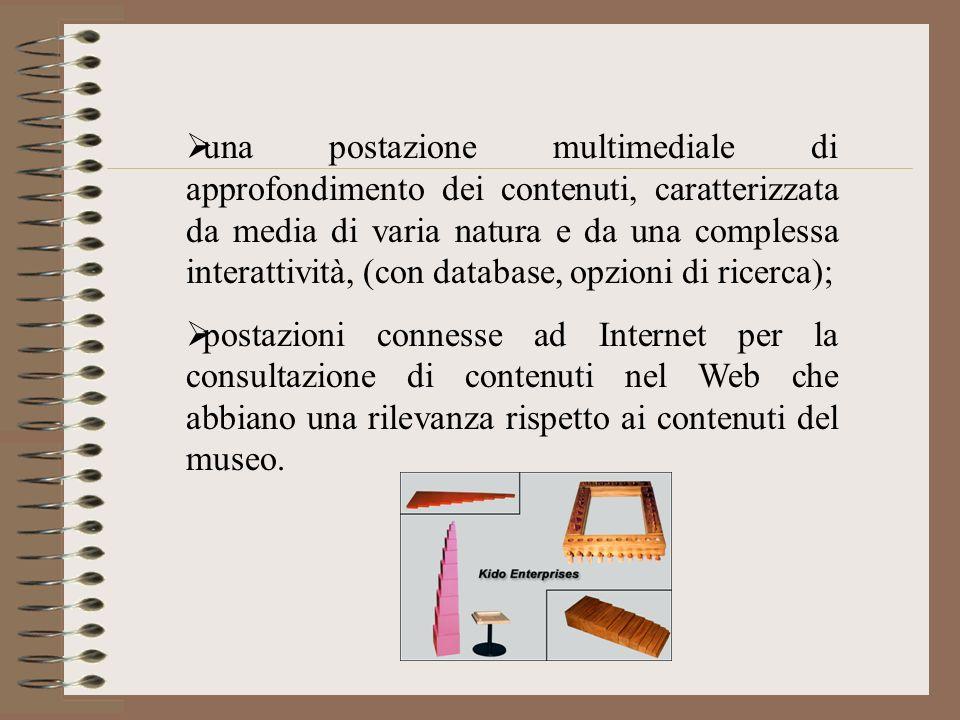 una postazione multimediale di approfondimento dei contenuti, caratterizzata da media di varia natura e da una complessa interattività, (con database, opzioni di ricerca);