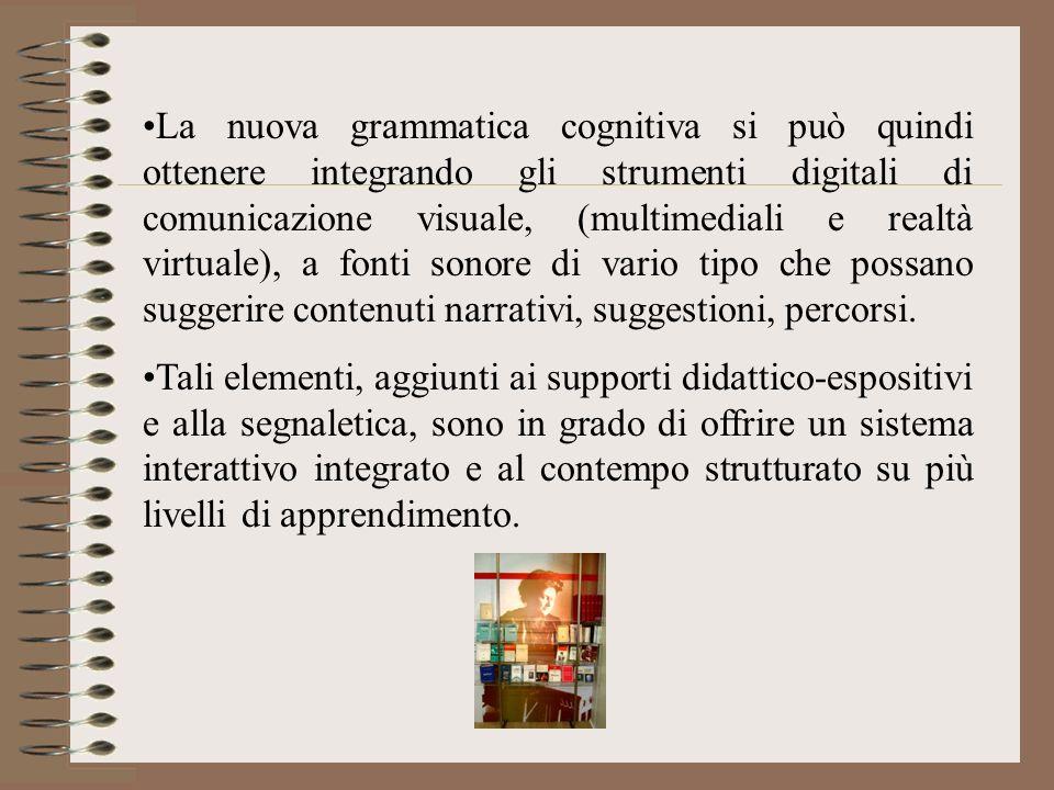 La nuova grammatica cognitiva si può quindi ottenere integrando gli strumenti digitali di comunicazione visuale, (multimediali e realtà virtuale), a fonti sonore di vario tipo che possano suggerire contenuti narrativi, suggestioni, percorsi.
