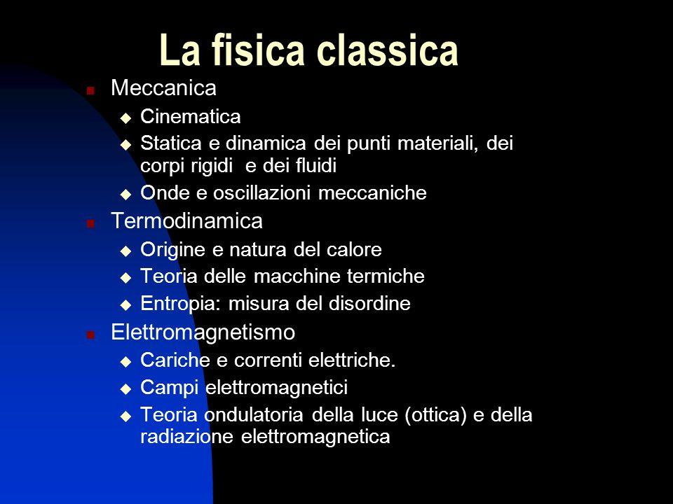 La fisica classica Meccanica Termodinamica Elettromagnetismo