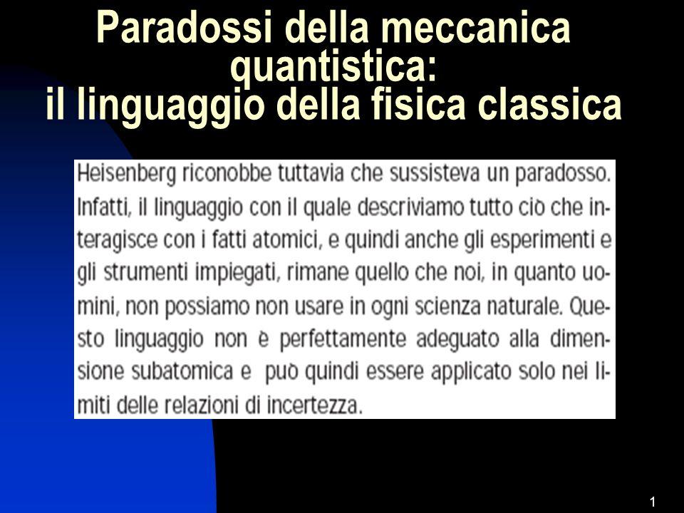 Paradossi della meccanica quantistica: il linguaggio della fisica classica