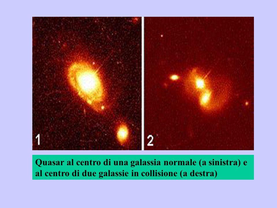 Quasar al centro di una galassia normale (a sinistra) e al centro di due galassie in collisione (a destra)