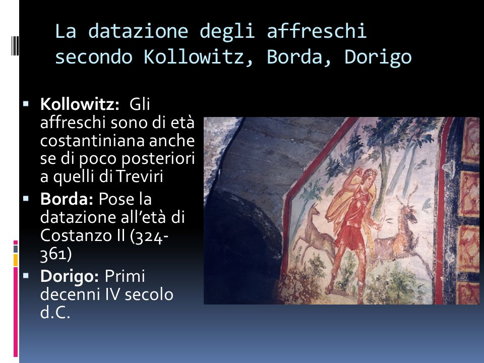 La datazione degli affreschi secondo Kollowitz, Borda, Dorigo
