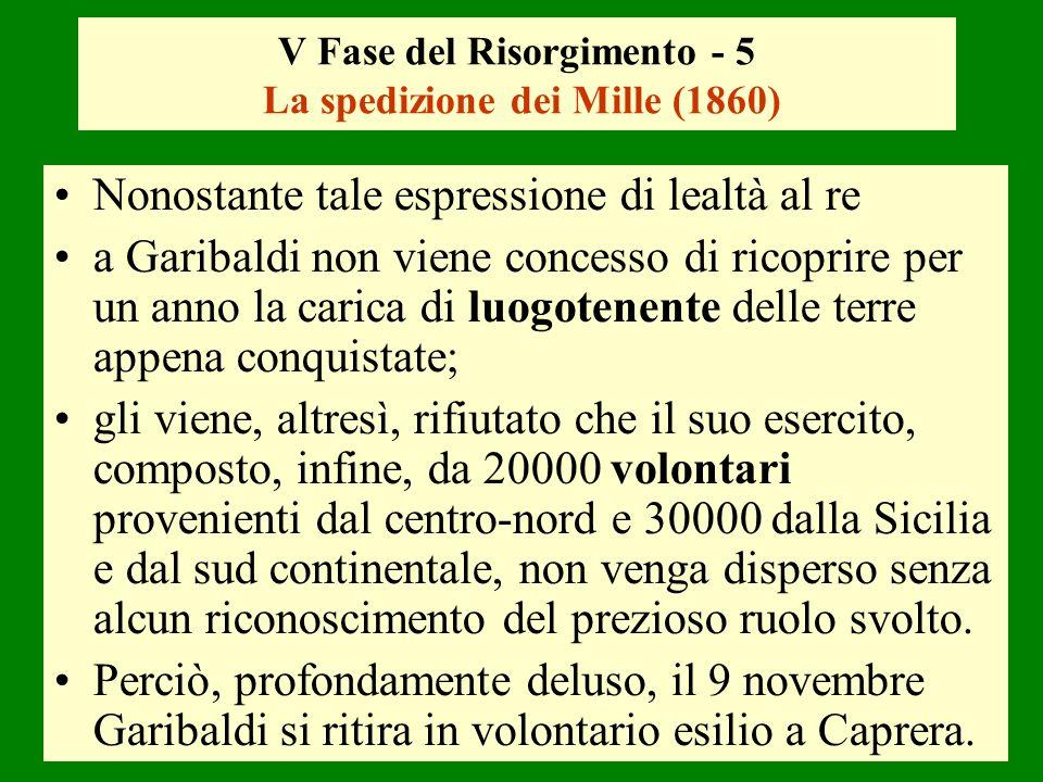 V Fase del Risorgimento - 5 La spedizione dei Mille (1860)