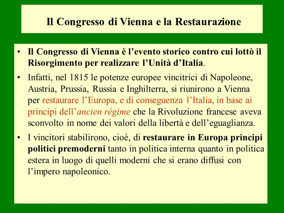 Il Congresso di Vienna e la Restaurazione