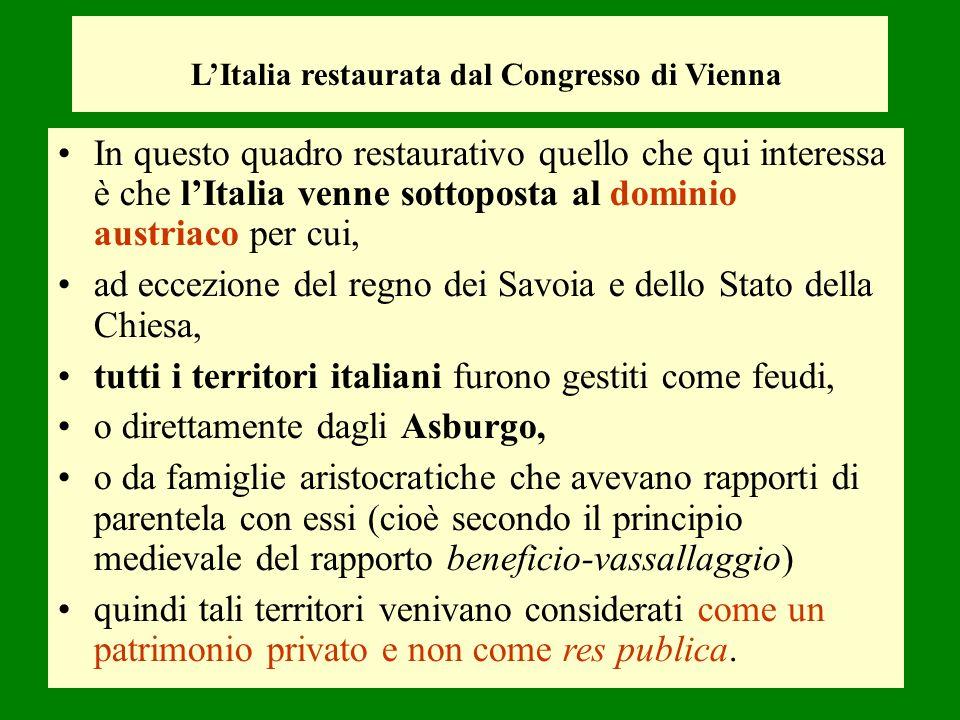 L'Italia restaurata dal Congresso di Vienna