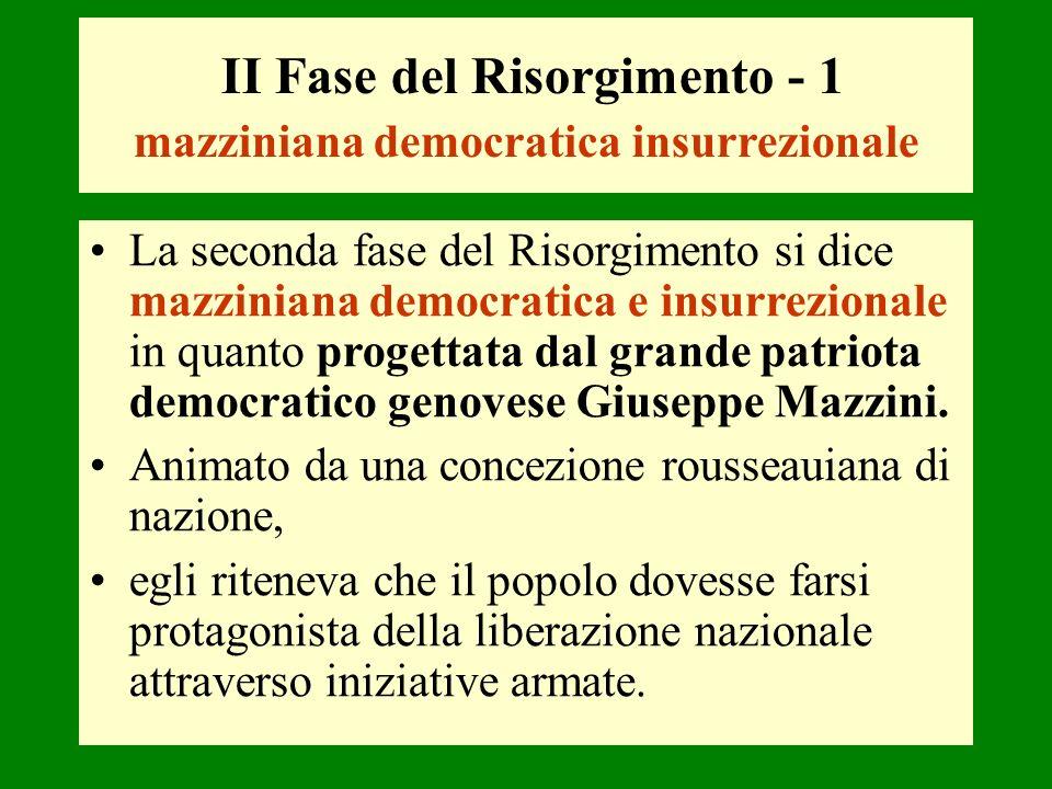 II Fase del Risorgimento - 1 mazziniana democratica insurrezionale