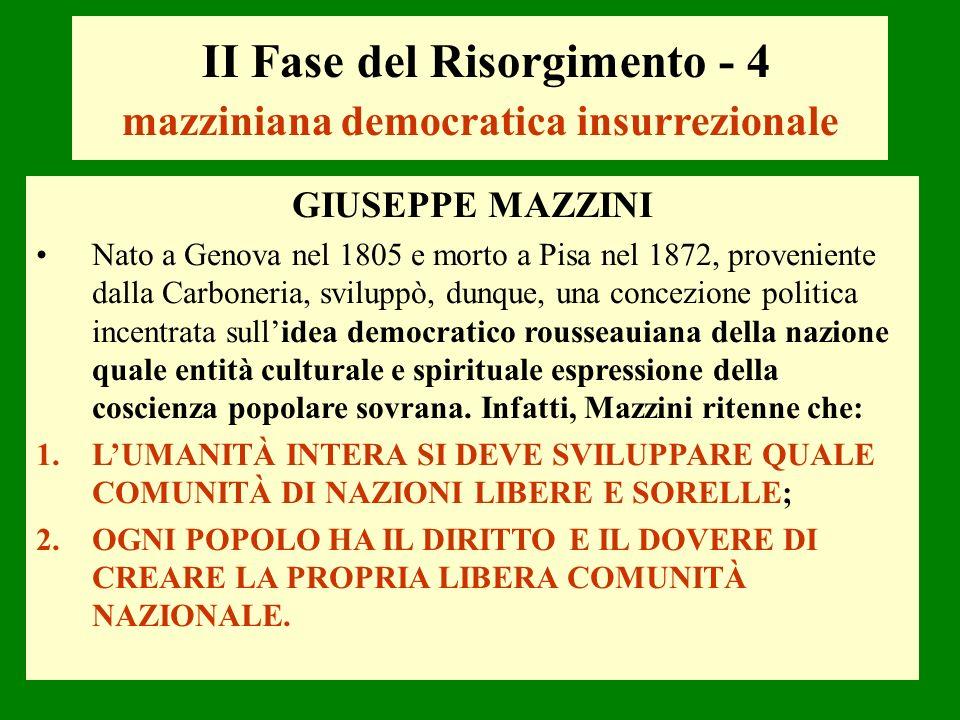 II Fase del Risorgimento - 4 mazziniana democratica insurrezionale