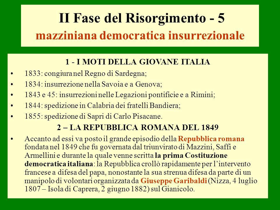 II Fase del Risorgimento - 5 mazziniana democratica insurrezionale