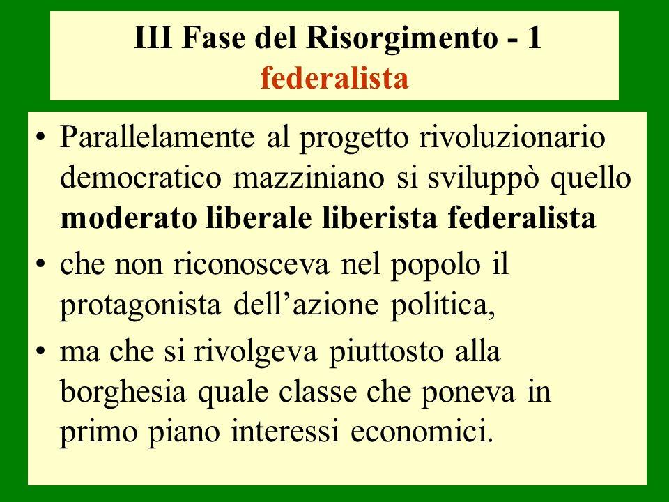 III Fase del Risorgimento - 1 federalista
