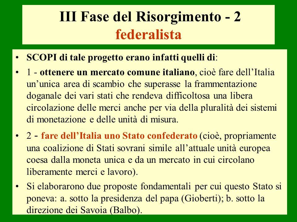 III Fase del Risorgimento - 2 federalista