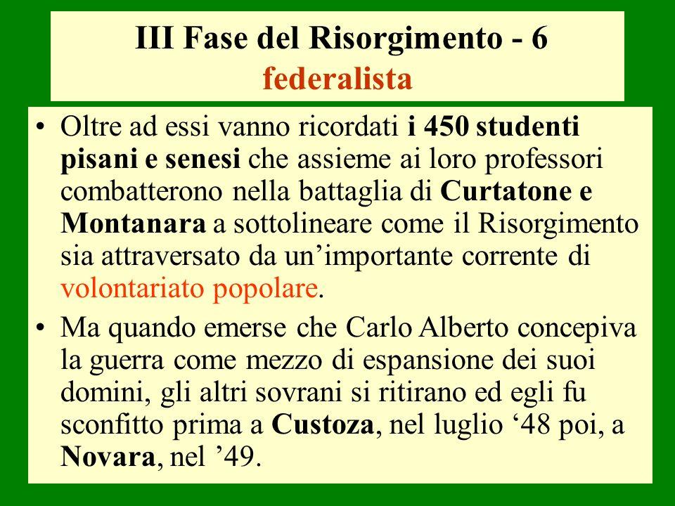 III Fase del Risorgimento - 6 federalista