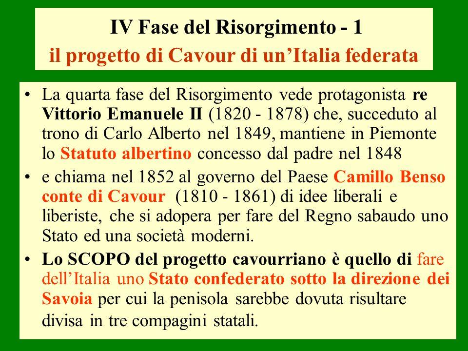 IV Fase del Risorgimento - 1 il progetto di Cavour di un'Italia federata