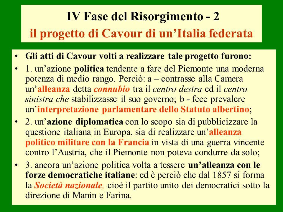 IV Fase del Risorgimento - 2 il progetto di Cavour di un'Italia federata