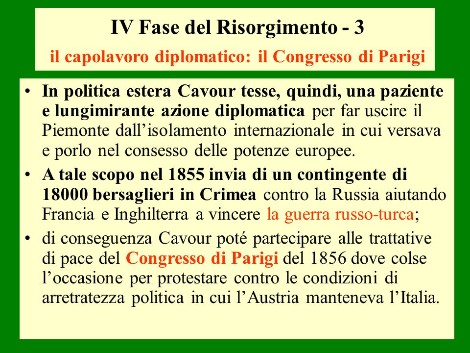 IV Fase del Risorgimento - 3 il capolavoro diplomatico: il Congresso di Parigi