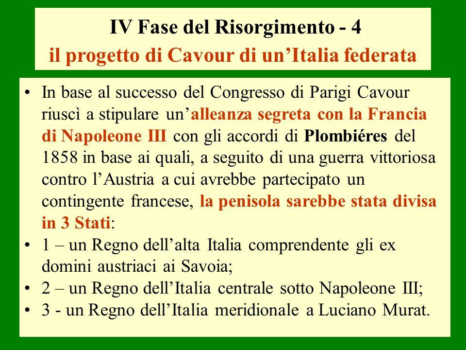 IV Fase del Risorgimento - 4 il progetto di Cavour di un'Italia federata