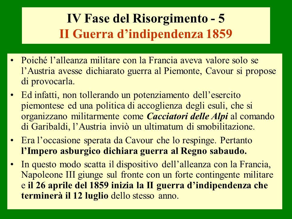 IV Fase del Risorgimento - 5 II Guerra d'indipendenza 1859