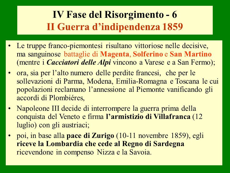 IV Fase del Risorgimento - 6 II Guerra d'indipendenza 1859