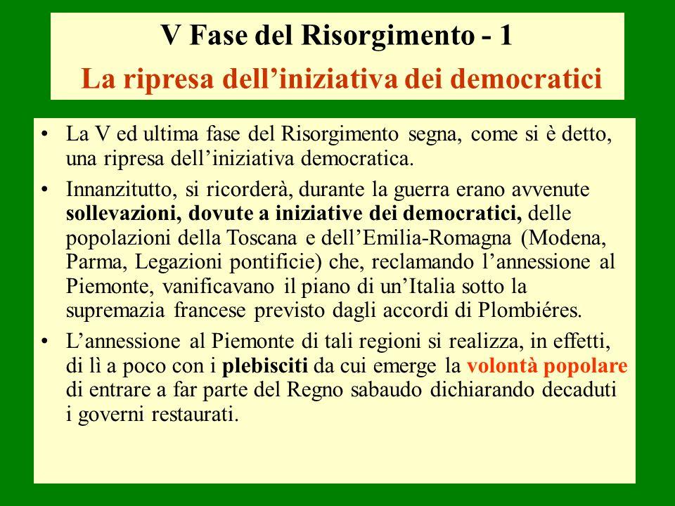 V Fase del Risorgimento - 1 La ripresa dell'iniziativa dei democratici