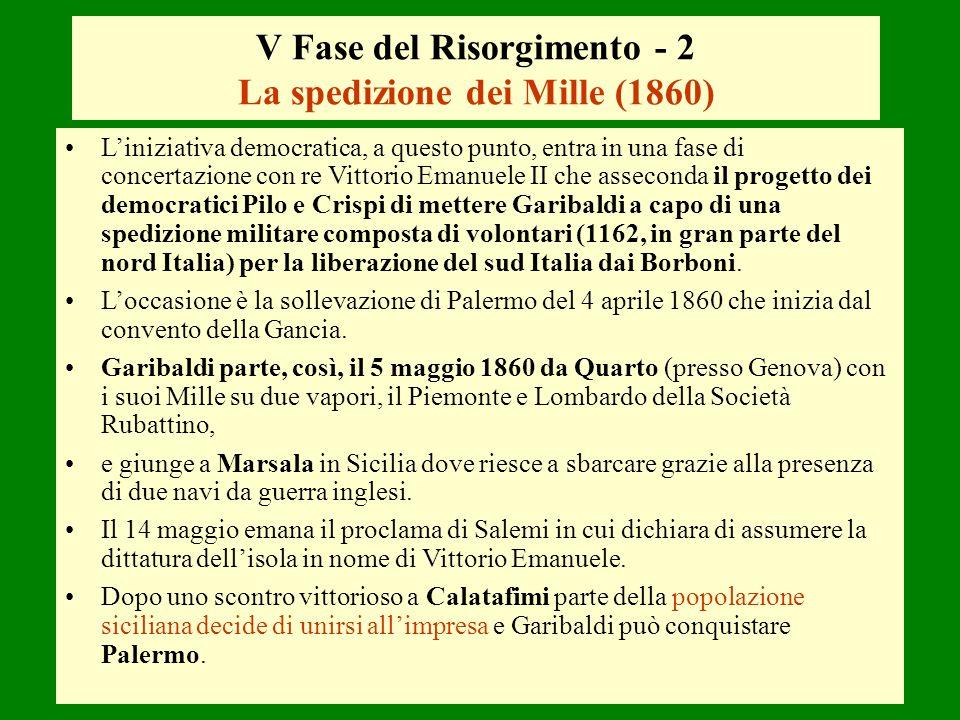V Fase del Risorgimento - 2 La spedizione dei Mille (1860)