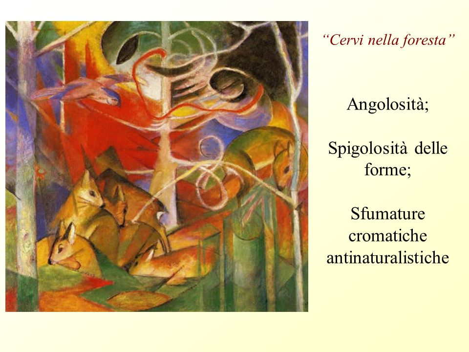 Cervi nella foresta Angolosità; Spigolosità delle forme; Sfumature cromatiche antinaturalistiche