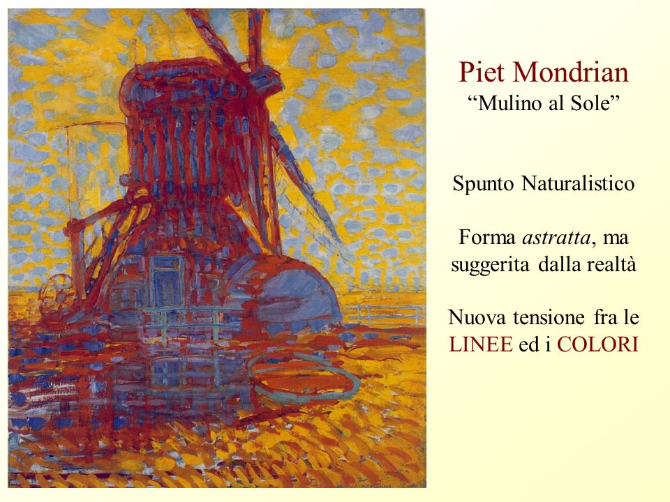 Piet Mondrian Mulino al Sole Spunto Naturalistico Forma astratta, ma suggerita dalla realtà Nuova tensione fra le LINEE ed i COLORI