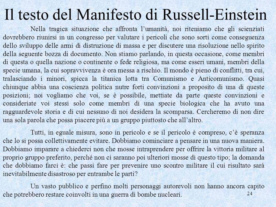 Il testo del Manifesto di Russell-Einstein