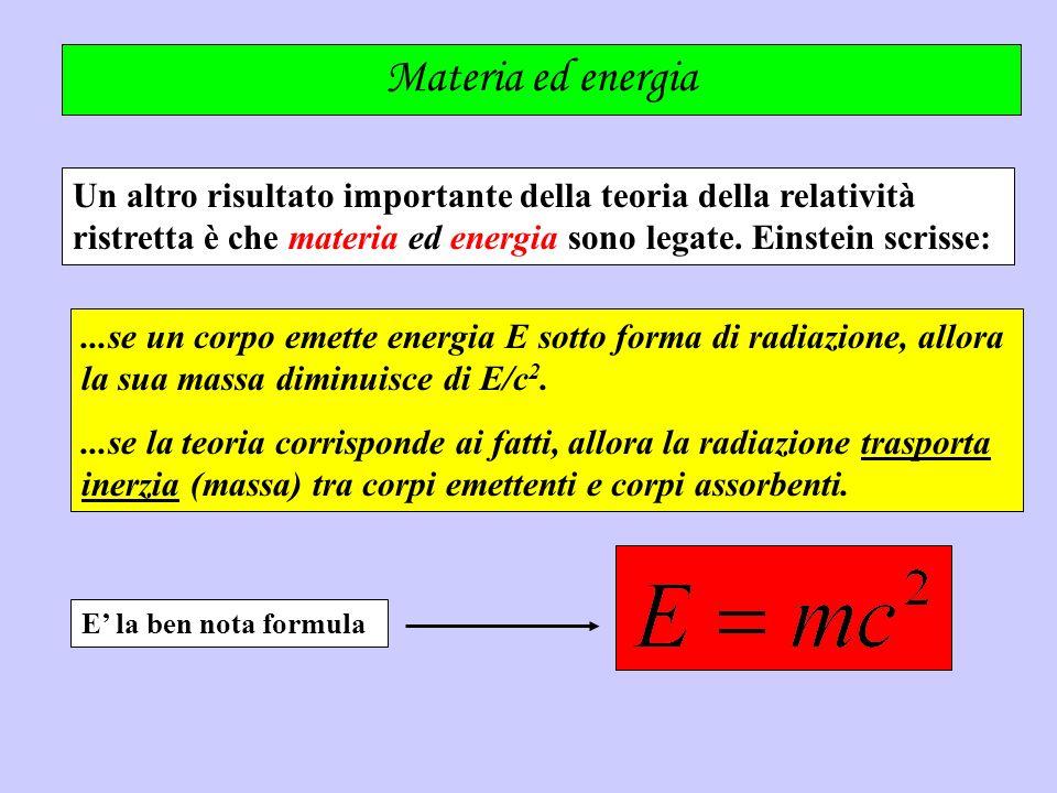 Materia ed energia Un altro risultato importante della teoria della relatività ristretta è che materia ed energia sono legate. Einstein scrisse: