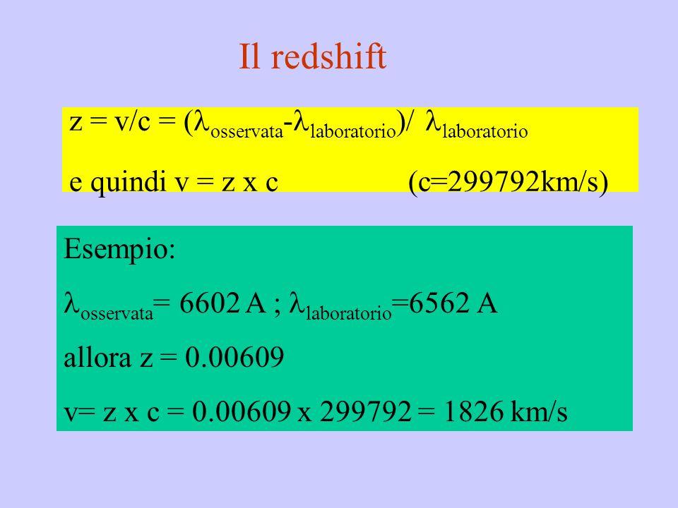 Il redshiftz = v/c = (osservata-laboratorio)/ laboratorio e quindi v = z x c (c=299792km/s) Esempio: