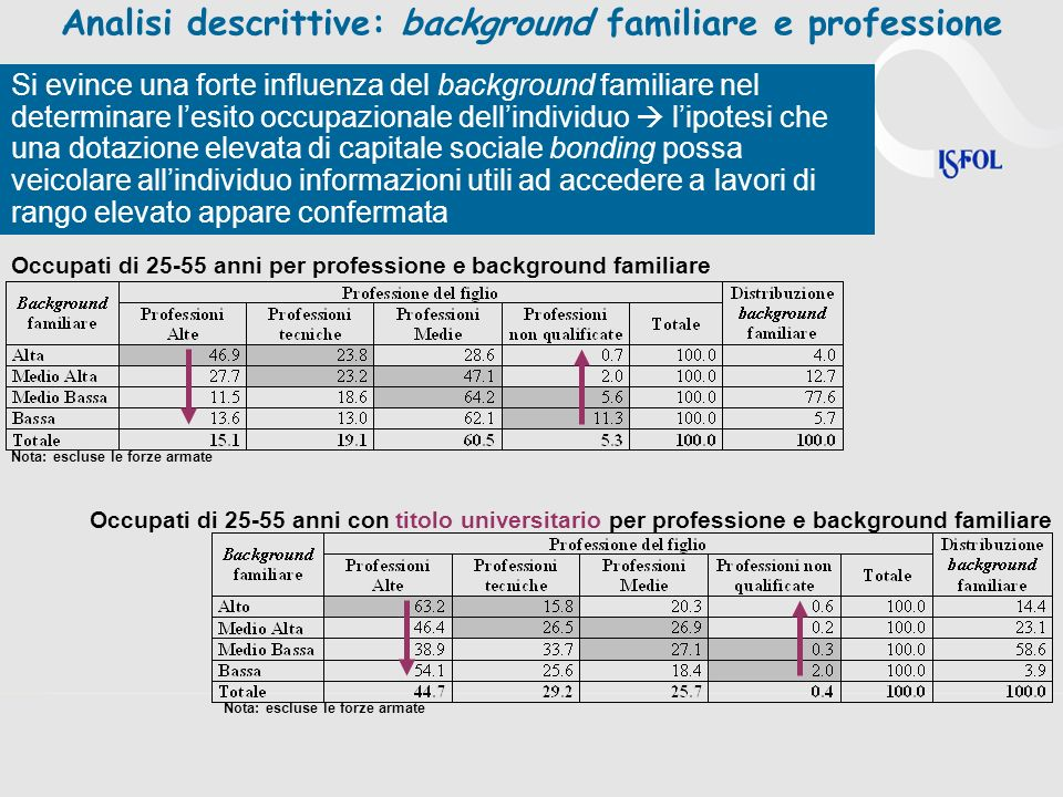Analisi descrittive: background familiare e professione