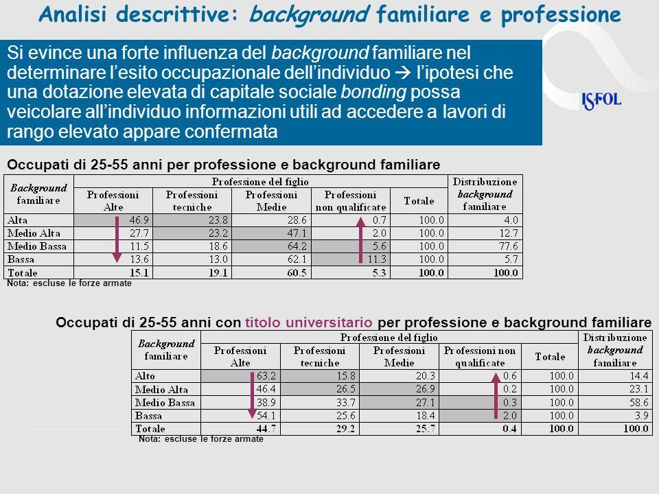 Analisi descrittive: background familiare e professione
