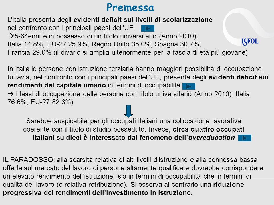 Premessa L'Italia presenta degli evidenti deficit sui livelli di scolarizzazione. nel confronto con i principali paesi dell'UE.