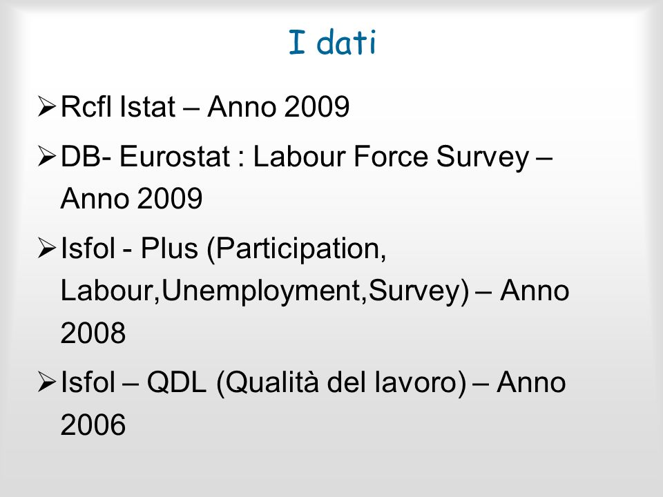 I dati Rcfl Istat – Anno 2009. DB- Eurostat : Labour Force Survey – Anno 2009. Isfol - Plus (Participation, Labour,Unemployment,Survey) – Anno 2008.