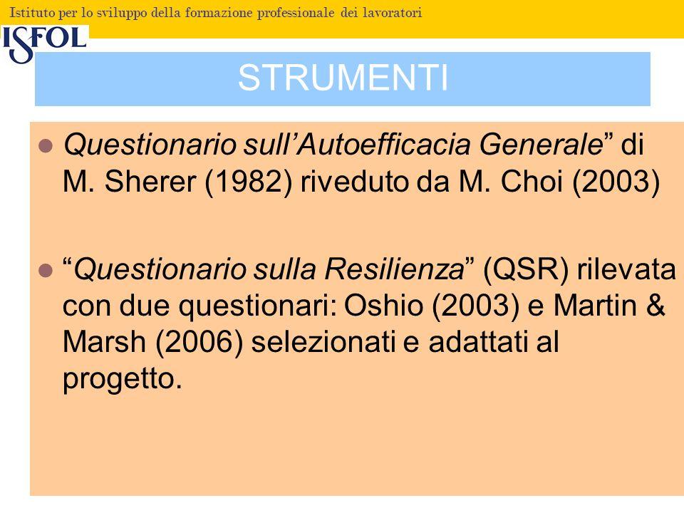 STRUMENTI Questionario sull'Autoefficacia Generale di M. Sherer (1982) riveduto da M. Choi (2003)