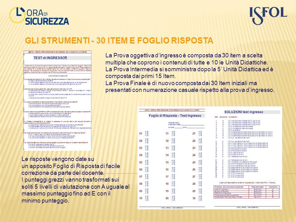 GLI STRUMENTI - 30 ITEM E FOGLIO RISPOSTA