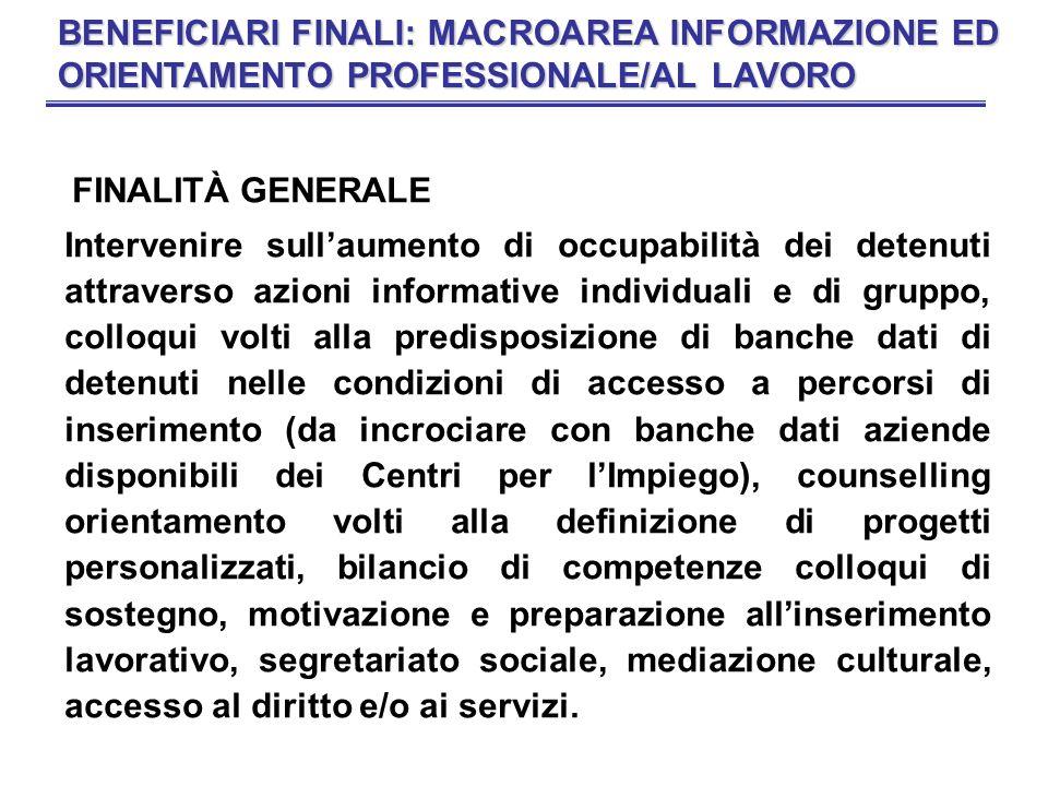 BENEFICIARI FINALI: MACROAREA INFORMAZIONE ED ORIENTAMENTO PROFESSIONALE/AL LAVORO