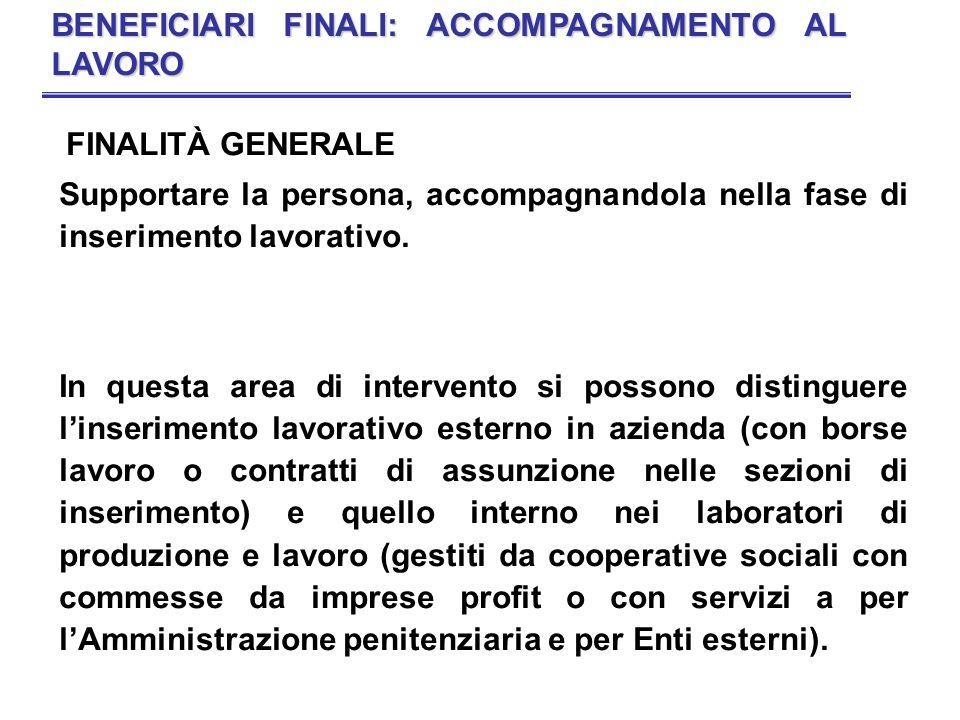 BENEFICIARI FINALI: ACCOMPAGNAMENTO AL LAVORO